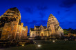 canvas print picture - Phi mai castle , historical park and ancient castle  in Nakorn Ratchasima north eastern of Thailand at Twilight