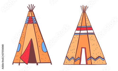 Photo Stands Native American indians traditional tipies. Two color wigwams. Vector hand drawn outline doodle sketch illustration