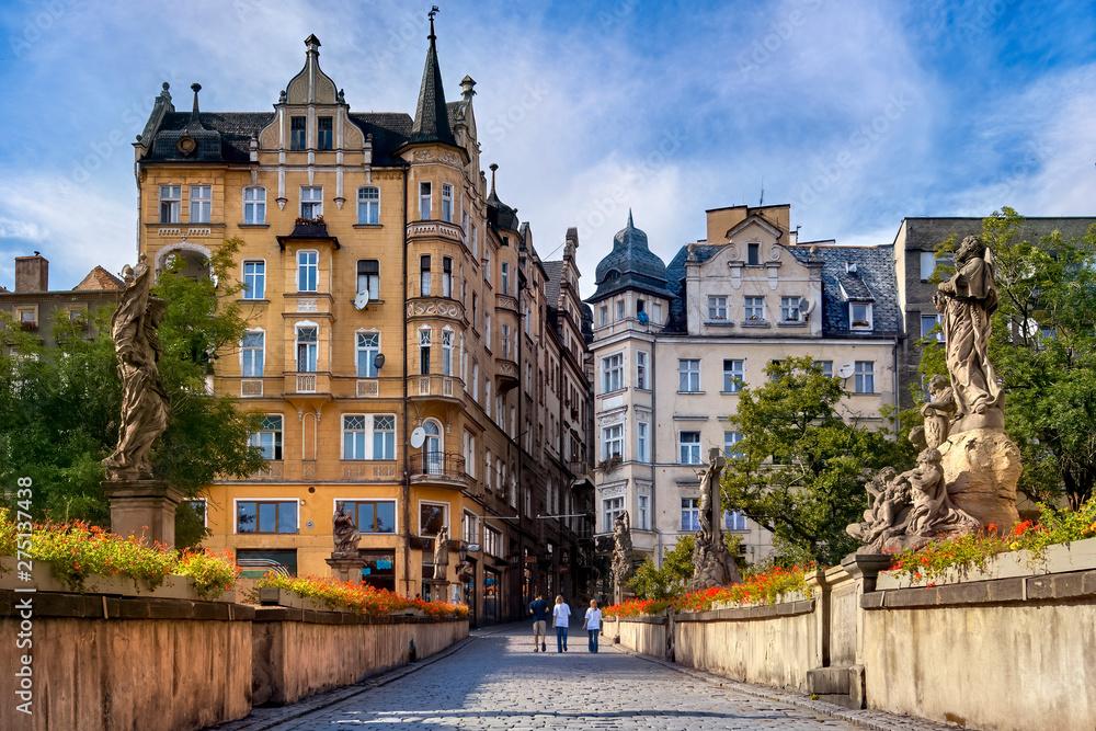 Fototapety, obrazy: Klodzko, baroque replica of the Charles Bridge in Prague