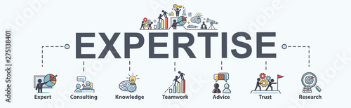 Fotografía Expertise banner web icon for business, expert, consulting, knowledge, teamwork, advice, trust and research