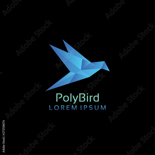Poly blue bird logo Wallpaper Mural