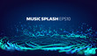Music and sound splash with ripples background. Particles glitch equalizer information