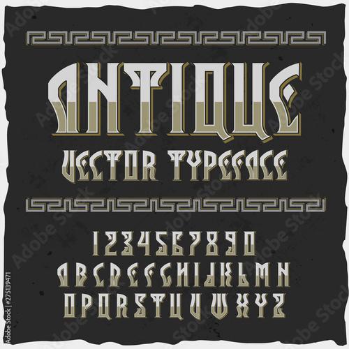 Fototapety, obrazy: Original label typeface named