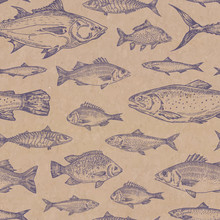 Hand Drawn Fish Vector Seamless Background Pattern. Craft Cardboard Paper Texture. Anchovy, Herrings, Tuna, Dorado, Mackerel, Seabass And Trout Sketches Card Or Cover Template.