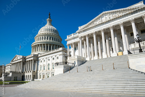 Wide empty view of the Capitol Building in Washington DC, USA under bright  blue morning sky Stock Photo   Adobe Stock