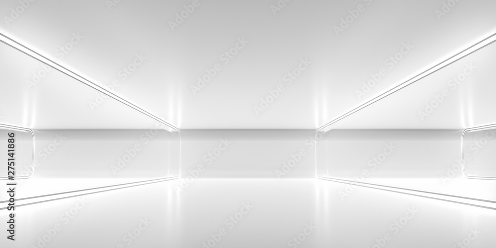 Fototapety, obrazy: Futuristic empty space corridor with glow light and reflection. Abstract background sci-fi or science concept. 3D Render.