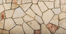 Sawn Cross Wall Texture Pattern Of Stone Textured Tile. Stone Rock Tile Background From Spain