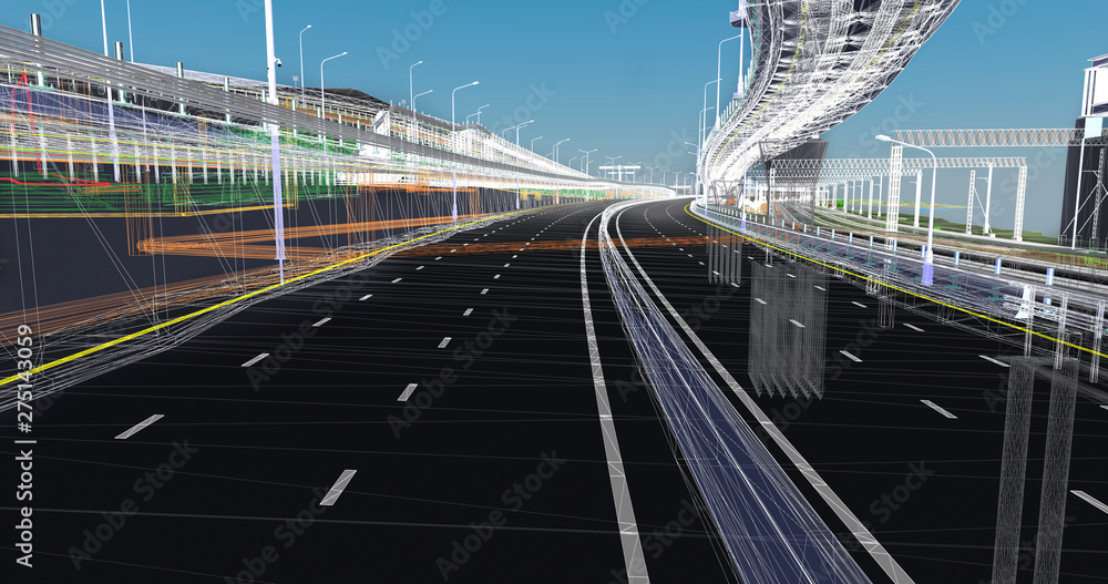 Fototapety, obrazy: The BIM model of the of transportation infrastructure object of wireframe view