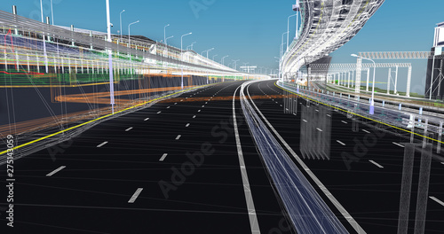 The BIM model of the of transportation infrastructure object of wireframe view