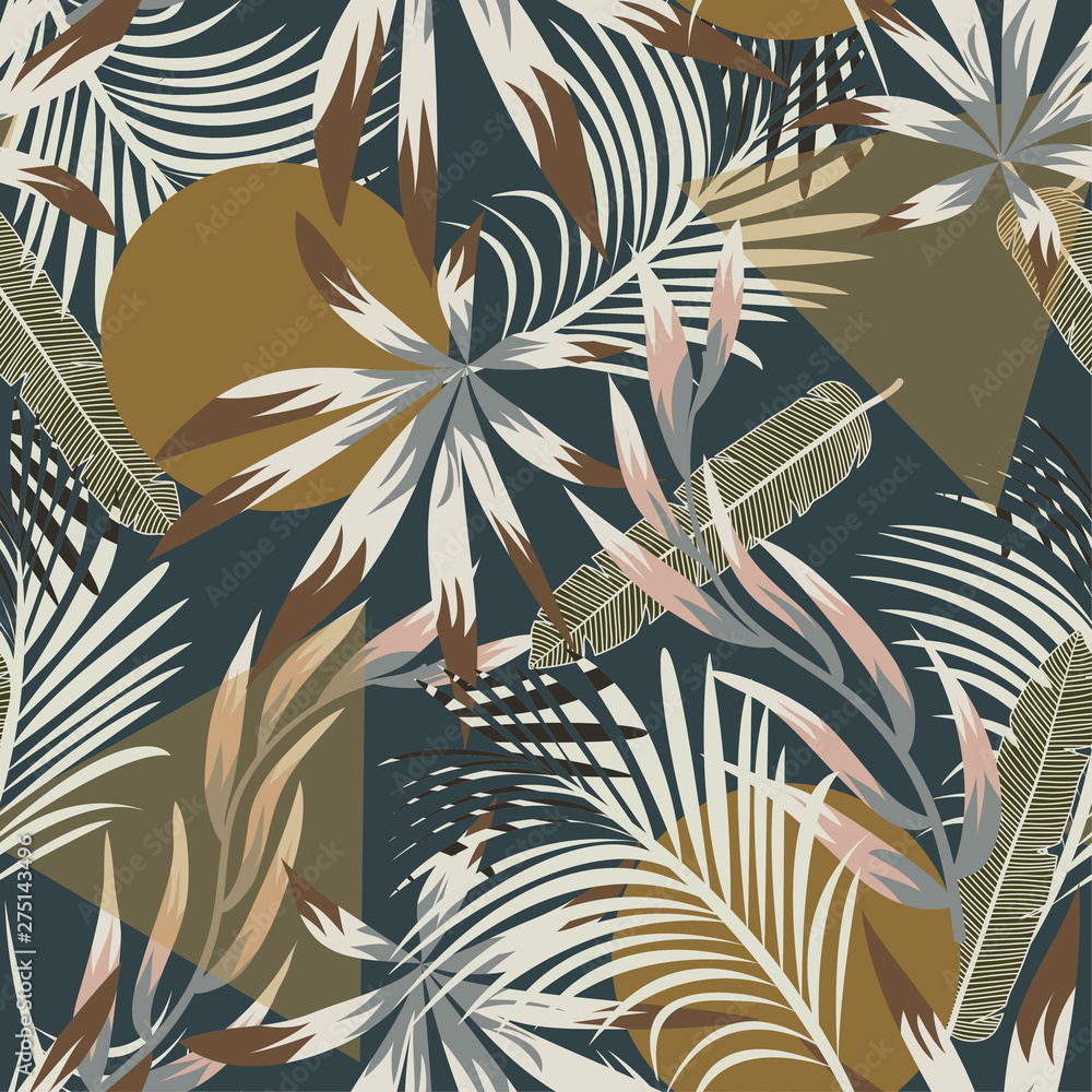Abstract seamless tropical pattern with bright leaves and plants on blue background. Vector design. Jungle print. Floral background. Printing and textiles. Exotic tropics. Summer design.