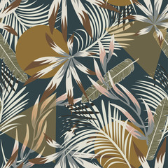 Fototapeta Abstrakcja Abstract seamless tropical pattern with bright leaves and plants on blue background. Vector design. Jungle print. Floral background. Printing and textiles. Exotic tropics. Summer design.