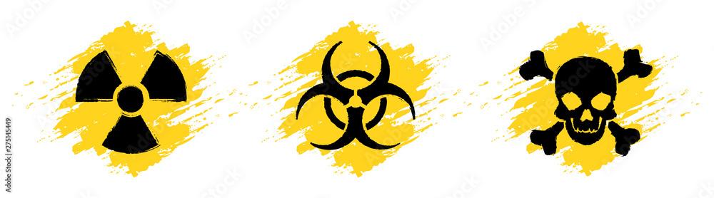Fototapeta Danger grunge vector signs. Radiation sign, Biohazard sign, Toxic sign, Poison sign.