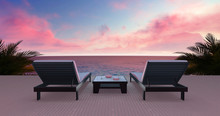 Two Wooden Loungers On Terrace...