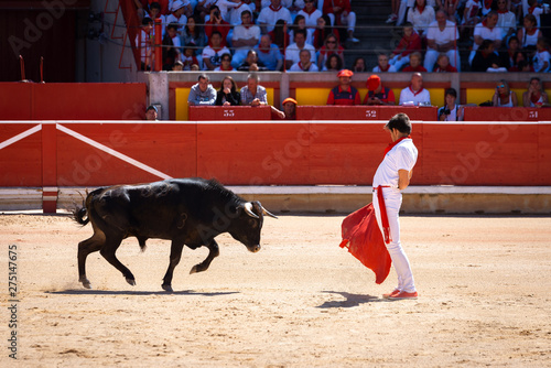 Young bullfighter in Pamplona bullring, Spain