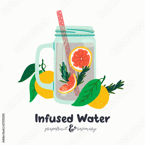 Photo Infused grapefruit water in a jar