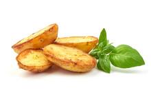 Baked Halves Of Potatoes, Close-up, Isolated On White Background