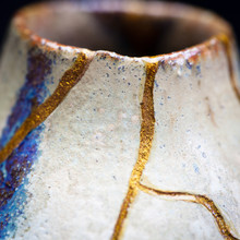 A Macro Shot Of A Vase I Repaired With Gold Powder And Urushi Lacquer.