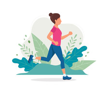Woman Running In The Park. Vector Illustration In Flat Style, Concept Illustration For Healthy Lifestyle, Sport, Exercising.