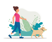 Woman With A Dog In The Park. Vector Illustration In Flat Style, Concept Illustration For Healthy Lifestyle, Sport, Exercising.