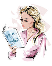 Hand Drawn Beautiful Young Woman Holding A Book. Stylish Blonde Hair Girl Reading A Book. Fashion Woman Look. Sketch. Vector Illustration.