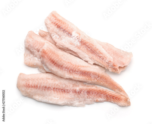 Top view of frozen cod fillets Fototapeta