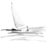 Jacht na morzu. Łódź żaglowa. Atramentu malowania ilustracja, tapeta, na białym tle. - 275160696