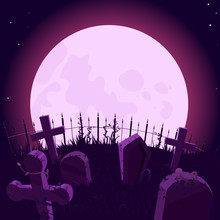 Violet Background With Big Moon And Graveyard, Vector Illustration. Graves And Crosses, Big Moon In GraveyardBackground For Halloween.