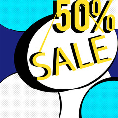 Yellow blue elements. 50% Sale banner template design. Big sale special offer. Special offer banner for poster, flyer, brochure, sticker. Vector illustration.