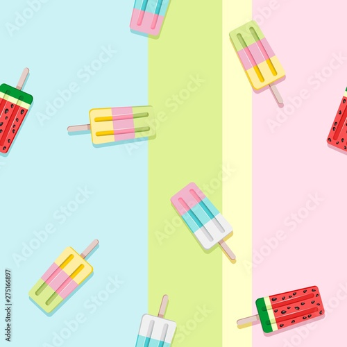 Foto auf AluDibond Ziehen Popscicles Summer Pastel Colors Vector Seamless Pattern