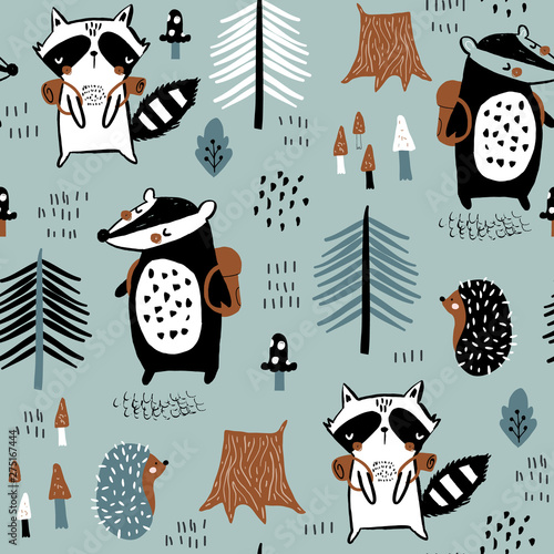 Photographie  Seamless childish pattern with tourist raccoon with beaver in the forest