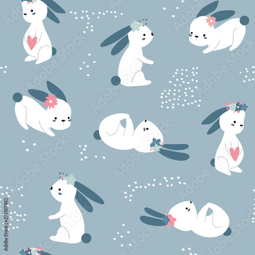 Seamless Easter Childish Pattern With Cute Rabbits Creative