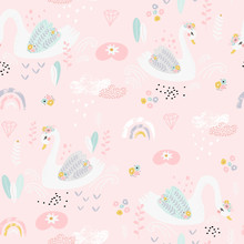 Seamless Pattern With Cute Fairy Swans And Rainbows. Creative Childish Background. Perfect For Kids Apparel,fabric, Textile, Nursery Decoration,wrapping Paper.Vector Illustration