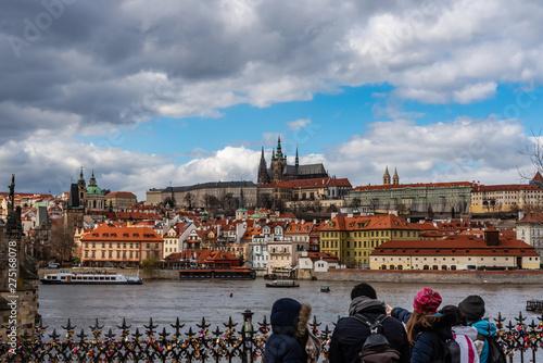 Obraz na plátne Prague view on the bank of river Moldava