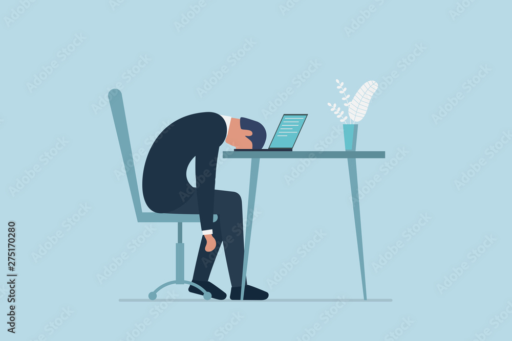 Fototapeta Professional burnout syndrome. Exhausted sick tired male manager in office sad boring sitting with head down on laptop. Frustrated worker mental health problems. Vector long work day illustration
