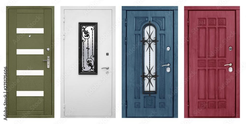 Fototapety, obrazy: Set of models of entrance metal doors isolated on white background