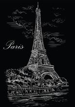 Black Vector Hand Drawing Paris 1