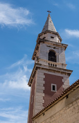 Fototapeta na wymiar Belltower of St Elias's church in the ancient old town of Zadar in Croatia