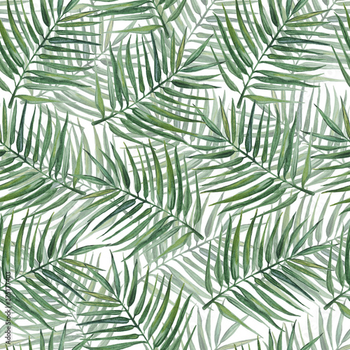 Fotobehang Tropische bladeren Seamless pattern with palm leaves. Watercolor illustration.