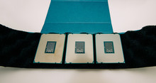 Above View Of Three New Powerful New E5-2687W Intel Xeon Professional CPU Processor Broadwell FCLGA2011-3 Unboxing