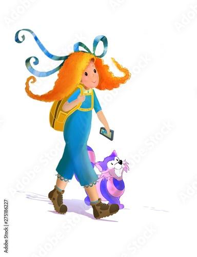 Alicia, Traveler, backpacker, smiling cat, hiking, walking, blue, hikers Wallpaper Mural