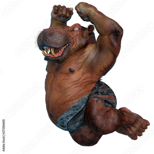 Photographie big and fat hippopotamus mutant is ready to smash all in a white background