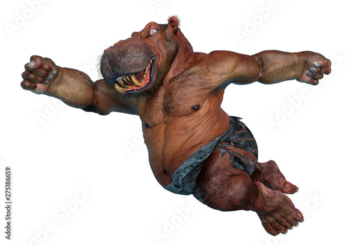 Fotomural big and fat hippopotamus mutant on super jump in a white background