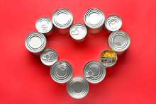 Heart Shape Made Of Tin Cans W...