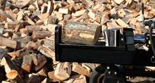 Closeup Of Wood Splitter Blade...