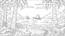 Coloring Book Tropical Landsca...