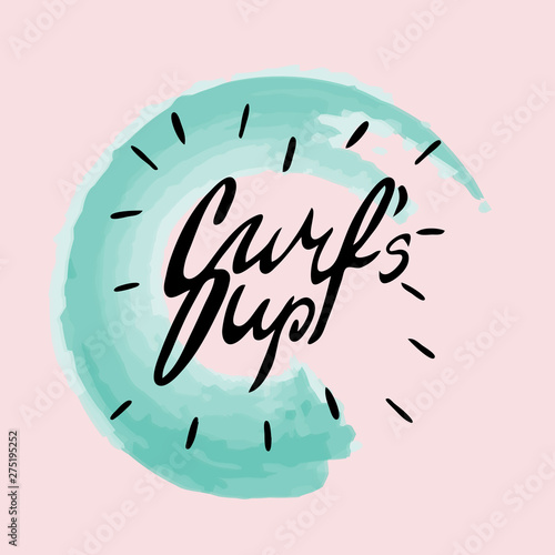 Fotografía Surf's up scetch style hand lettering emblem with watercolor curcle wave on a pink background