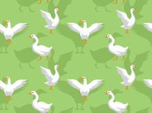 White Goose Cartoon Seamless Wallpaper