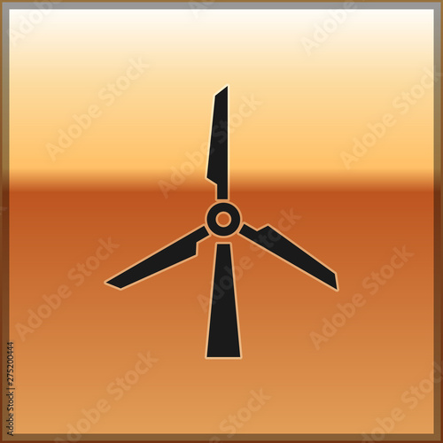 Black Wind turbine icon isolated on gold background  Wind