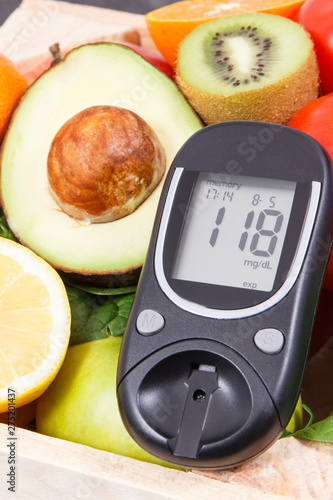 Fotomural Glucose meter with fresh fruits and vegetables