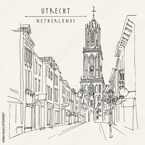 Utrecht, Netherlands, Europe. The Dom Tower (Cathedral Tower). Hand drawn vintage touristic postcard Wall mural